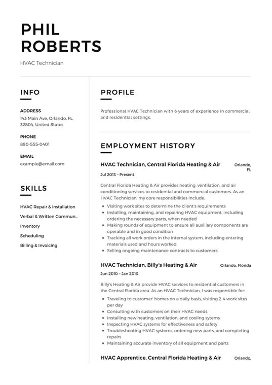 Achieve Better Hvac Success Thanks To This Article Hvac Technician Resume Examples Mechanic Jobs