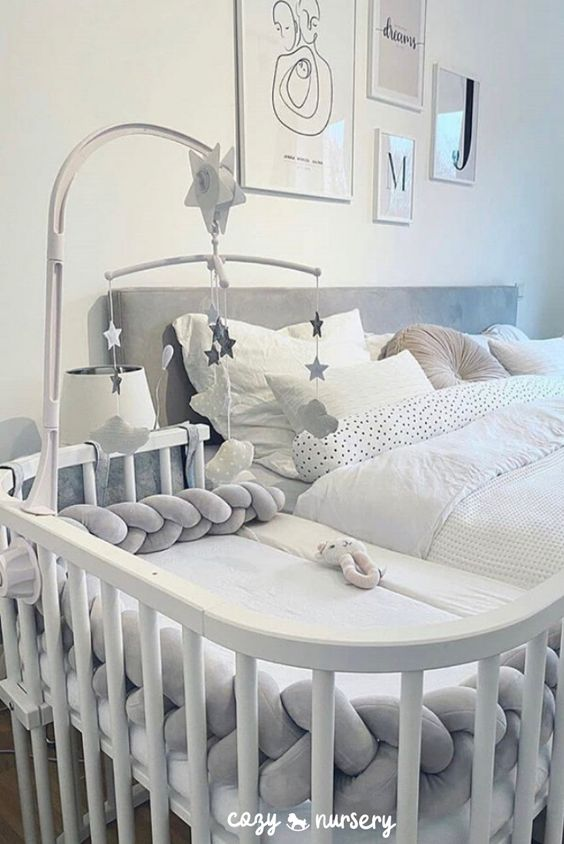 Baby Cot Protector: Prevent babies from bruising themselves against the bed while sleeping. Keep your baby's head, legs or hands in safety. #baby #babynursery #cozynursery