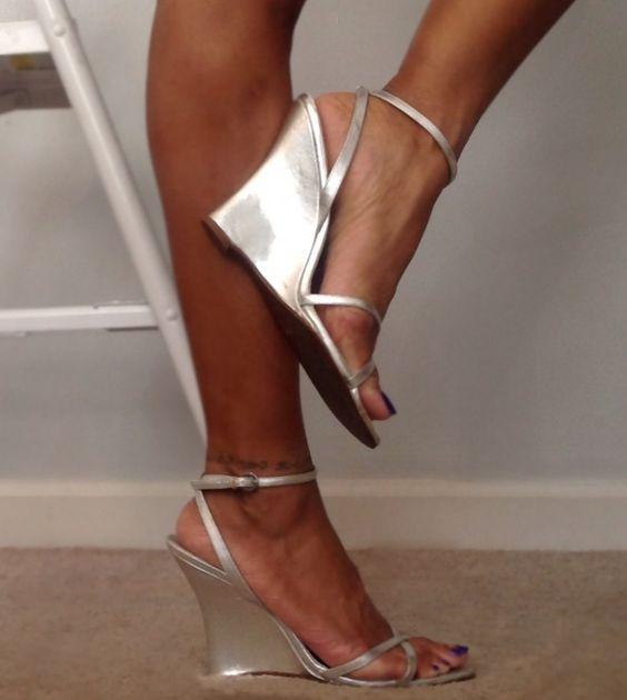 Vintage Aldo Metallic Silver Wedge Heel Sandals | The christmas ...