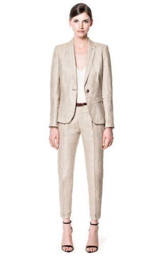 beige linen women suit | ZARA BEIGE LINEN MARL BLAZER JACKET SIZE