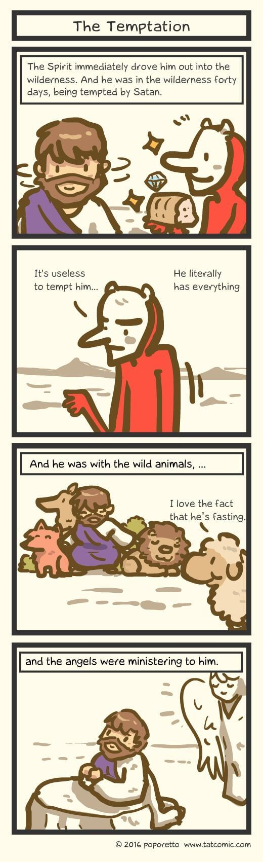 Christian Comic Strip The Gospel Of Mark Book Of Mark Jesus Tempted By The Demon In The Wilderness Christian Comics Jesus Tempted Gospel Of Mark