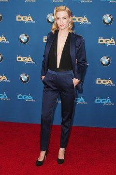 January Jones in Sandro with Miu Miu heels   DGA Awards, LA - February 7 2015