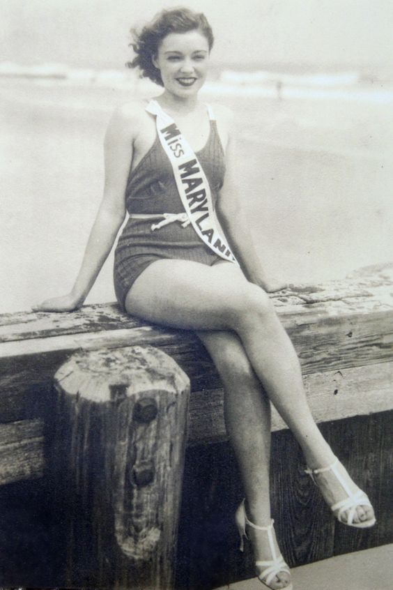Met the neatest man today who shared some of his old Ocean City photos with @Andrea / FICTILIS Bowland & I for a @ShoreBread article...    Miss Maryland in Ocean City, MD  Ethel Mae Holland from Berlin, MD  1936  Courtesy of Josh Bunting  From the collection of Bunk Mann: