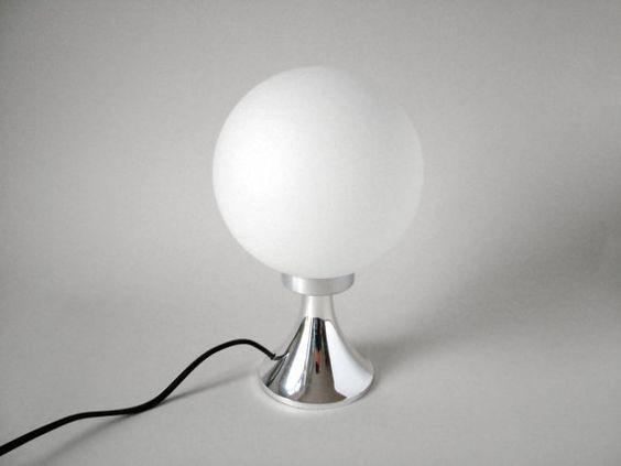 Vintage silver tulip desk lamp panton style milk glass balloon on – Tulip Desk Lamp