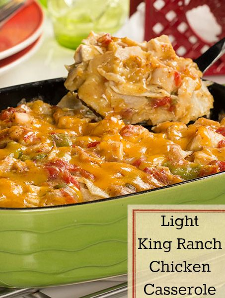 Light King Ranch Chicken Casserole   A lightened up, cheesy Tex-Mex casserole that only takes 35 minutes!