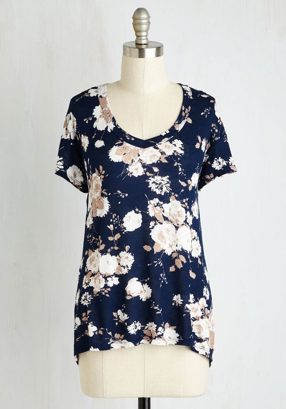 Just Because Tee in Navy - Mid-length, Knit, Blue, Multi, Floral, Print, Casual, Fairytale, Short Sleeves, Fall, Good, Variation, V Neck