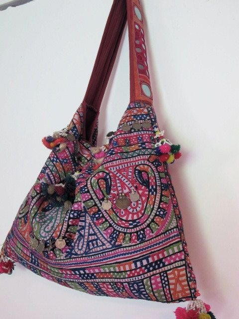 vintage indian embroidered bag by shopgypsyriver on Etsy, $160.00