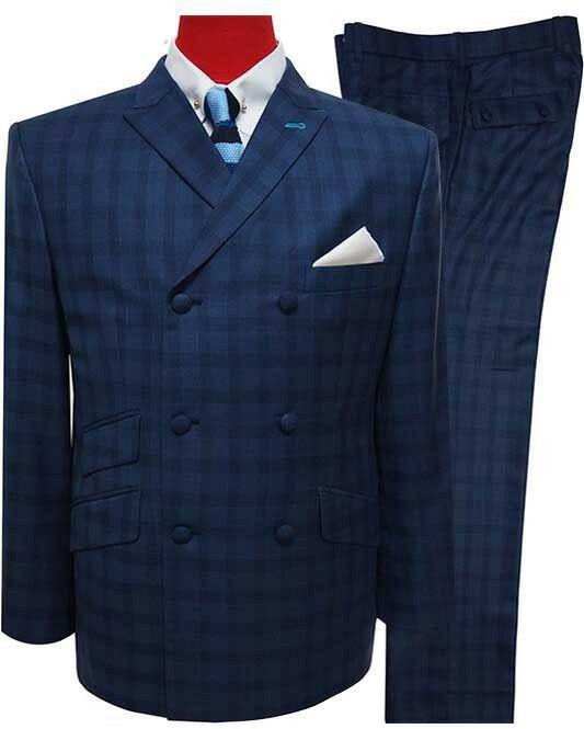 Tailored 60s Style Navy Blue Mod Suit 3 Button Navy Blue Suit