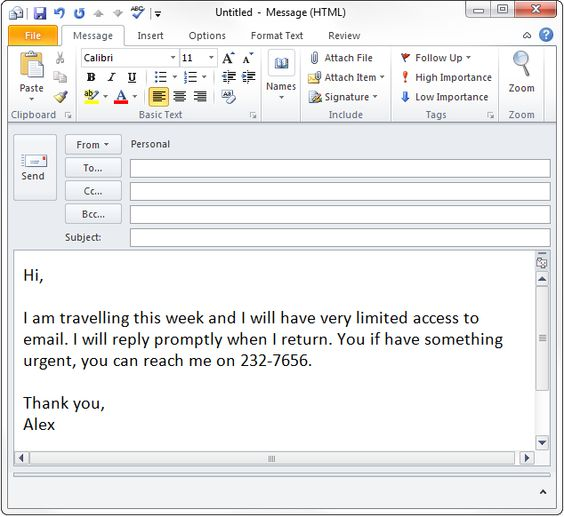 How To Set Out of Office email For The Office Pinterest Vacation - follow up email