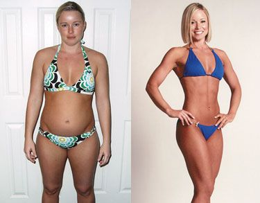 Emily Alvers before and after body for life 2008 grand champion. What a difference 12 weeks can make!