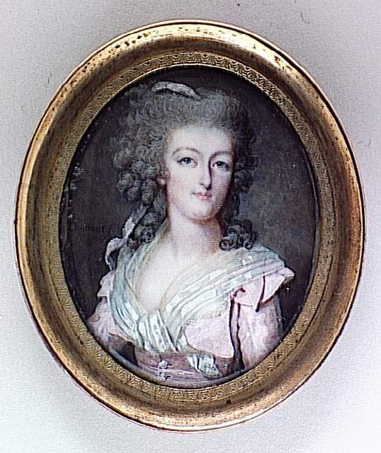 François Dumont, miniature portrait of Marie-Antoinette, c. 1784, on ivory, 5.4 x 4.4 cm (Louvre)