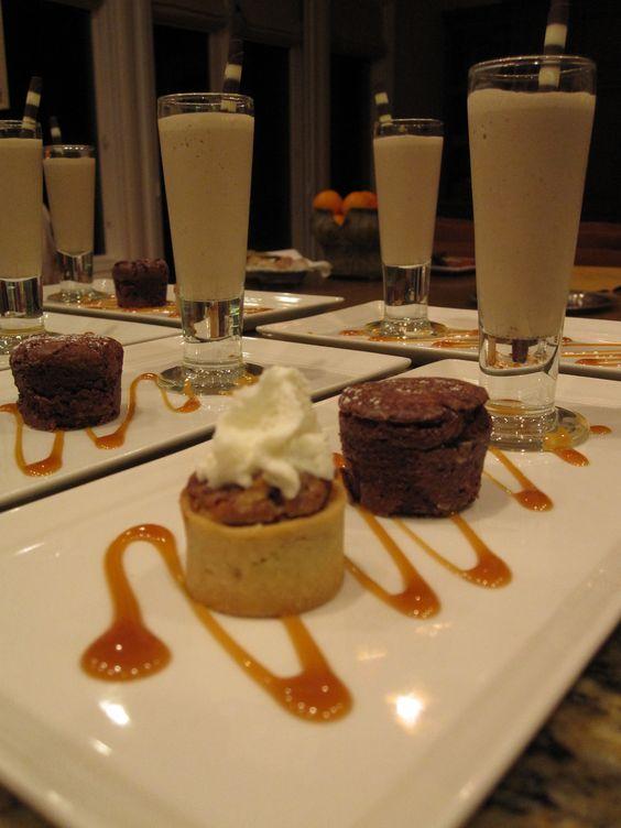 Trio of Desserts, Pecan Tart, Chocolate Bouchon & Petite Espresso ...