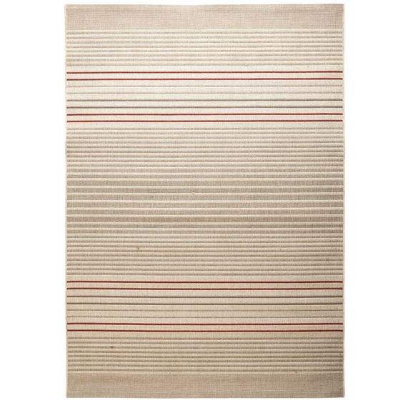 Red Dobby Flatweave Stripe Rug - Spice - Polypropylene - Outdoor