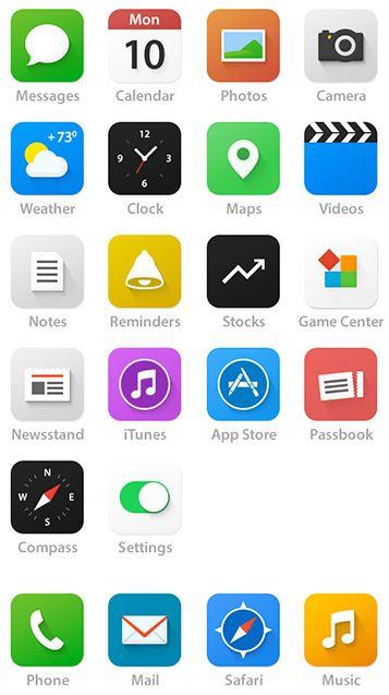 Rediseño de los iconos iOS 7 por parte de los usuarios