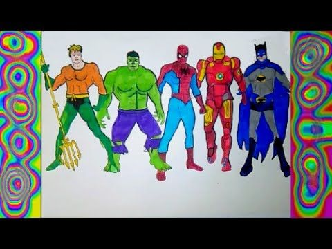 Superheroes Iron Man Spiderman Aquaman Coloring Pages Hulk Batman Colors Kids Youtube Iron Man Spiderman Spiderman Coloring Pages