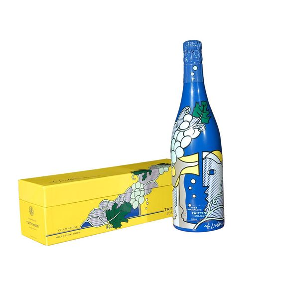 Roy Lichtenstein champagne for Taittinger bottle. Classic #champagne #packaging bottle and box. PD