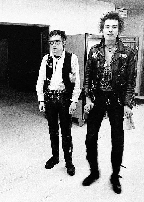 Johnny Rotten and Sid Vicious. I find it creepy how much Johnny looks like a typical modern hardcore kid in this picture.