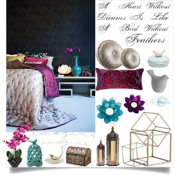 Imagine by loveartrecyclekardstock on Polyvore featuring polyvore interior interiors interior design home home decor interior decorating Kevin O'Brien Arteriors Uttermost Queen Street Swarovski Dot & Bo