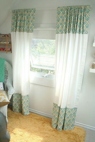 Cute idea for curtains - short white curtains + favorite fabric.:
