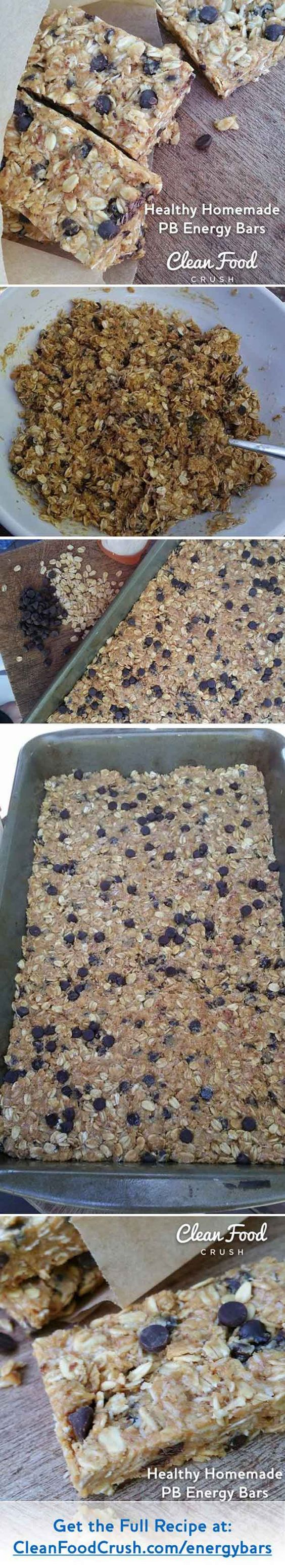 homemade peanut butter and chocolate chip energy bar with oats | 13 Energy Bar Recipes For A Healthy Afternoon Pick Me Up