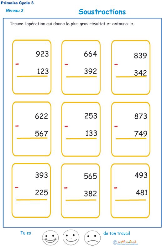 Imprimer Des Soustractions Cycle 3 Niveau 2 Exercice 1 Exercice Cm2 A Imprimer Exercice Math Ce2 Exercice Math Cm1