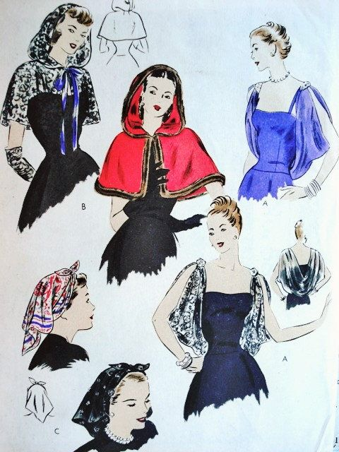 40s Enchanting Evening Capelets,Head Scarf Pattern VOGUE 5810 Hood Cape Glam Draped Shoulder Cape Kerchief Head Scarf Vintage Sewing Pattern