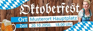Mustervorschläge für deinen Werbebanner zum Gestalten. #onlinedruckerei #festl #weisswurst #bier #party
