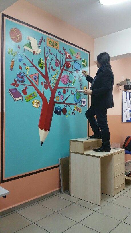 Duvar boyama retmenler school mural pinterest for Murales faciles y creativos