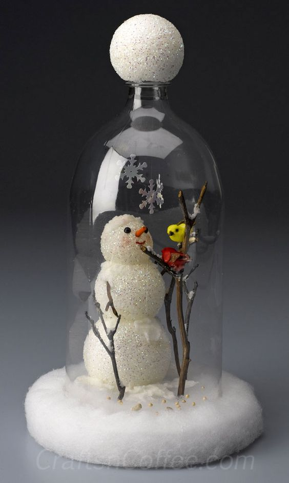 Caught in a cloche! This cute DIY Christmas snowman is kept safe in a cloche made from a soda bottle