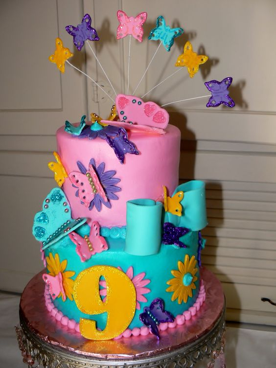 Julie S 9th Birthday Cake With Fondant Butterflies