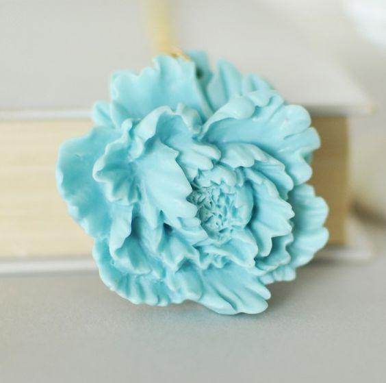 Aqua blue peony flower necklace.