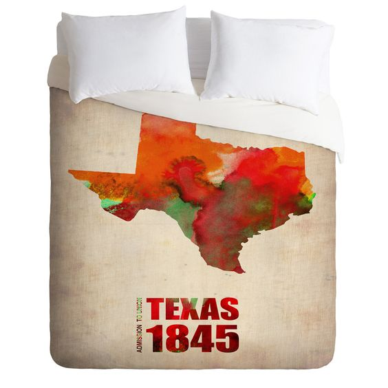 Naxart Texas Watercolor Map Duvet Cover | DENY Designs Home Accessories