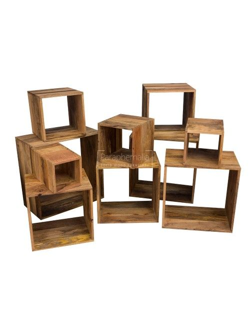 Solid Mango Wood Set Of 10 Storage Display Cubes Build Your