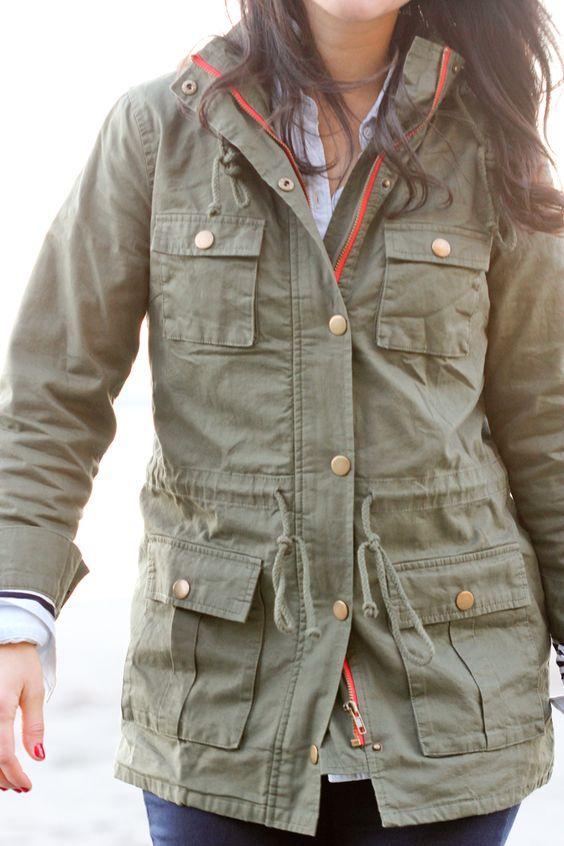 Market and Spruce Army Coat.     Looks very comfy and lightweight. Great for spring and fall. The pink line accent is cute on olive. NM