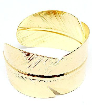 Gold Tone Leaf Wide Statement Cuff Bangle Bracelet