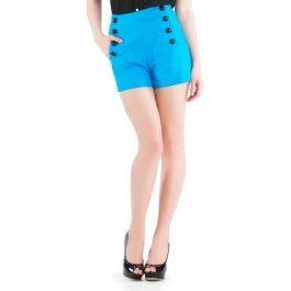 Short Rétro Pin-Up 50's Rockabilly Taille Haute Bleu