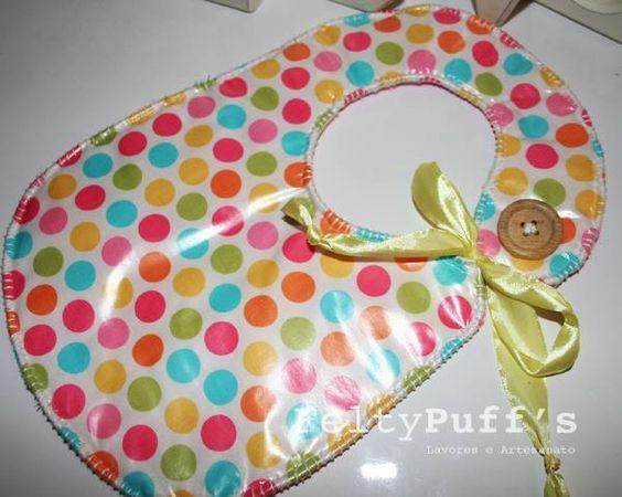 Bá Sweet Dots♥  Com tecido temático e plastificado, fita de cetim Amarela e botão em Madeira.