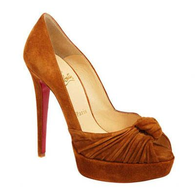 Christian Louboutin Greissimo 140Mm Suede Peep Toe Pumps Brown