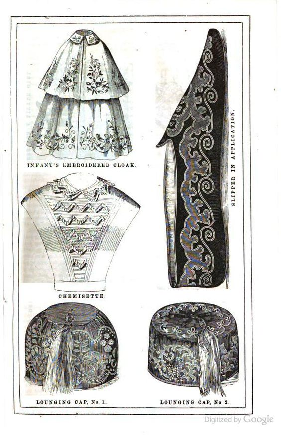 Two lounging caps, The Lady's Home Magazine, 1858.