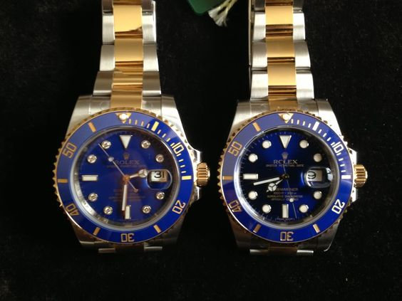 This shows the two versions of blue dials on a Rolex 116613 Submariner.  L: solid, or 'smurf'', (w/ or w/o diamonds), and R: 'sunburst' concentrically brushed.