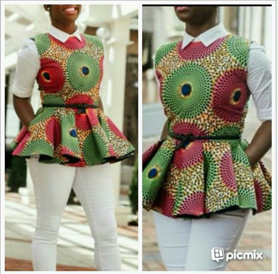 Hey, I found this really awesome Etsy listing at https://www.etsy.com/listing/231793538/african-print-peplum-top-african: