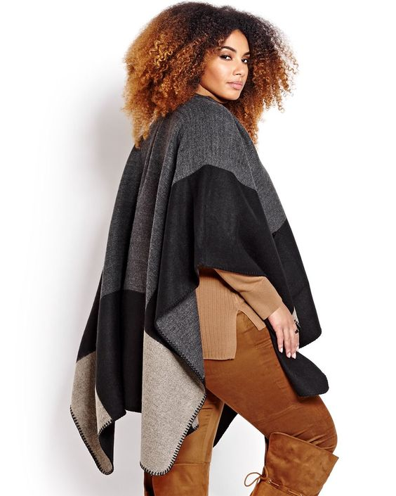 Color Block Cape with Pockets