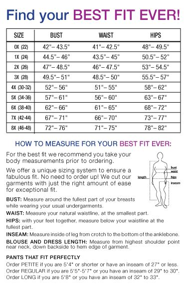 Plus Size Clothing Size Chart | Find your perfect fit