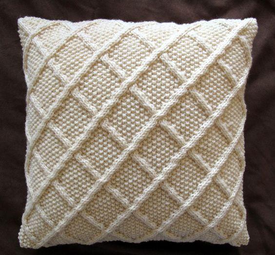 Aran Knitting Patterns For Cushion Covers : Classic Trellis Design Aran Cushion Cover - Cream. Handmade Pinterest C...