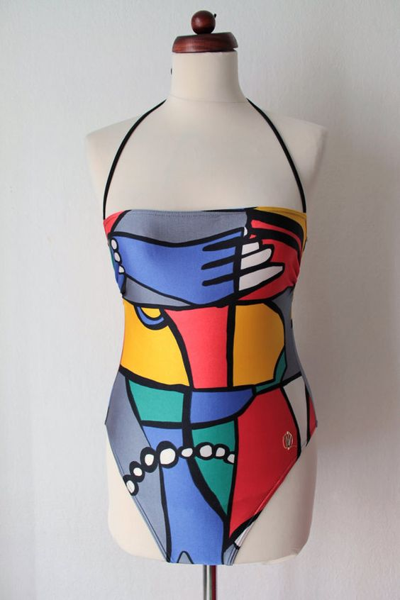 Vintage Swimsuit  Abstract Print Swimsuit  von PaperdollVintageShop, €19.90