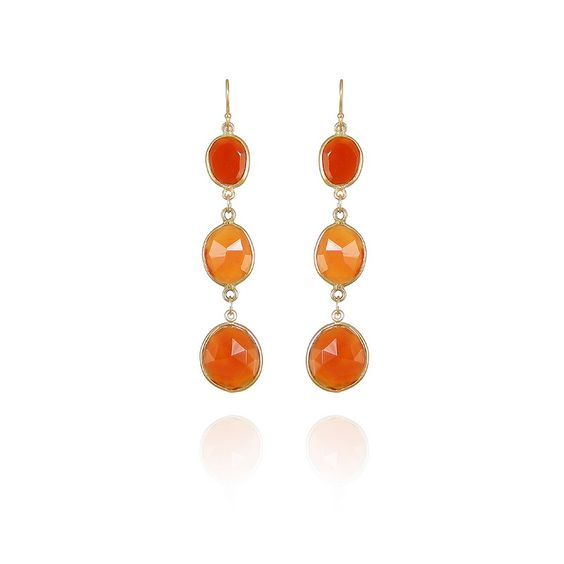 Dash earrings with gold and semiprecious stones Carnelian
