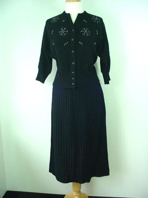 """1950s """"Sweater Girl"""" 2-piece Black Beaded Sweater and Knit Skirt Set"""