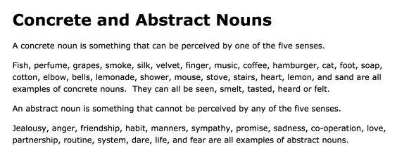Concrete and Abstract Nouns (Free Teacher Worksheets)