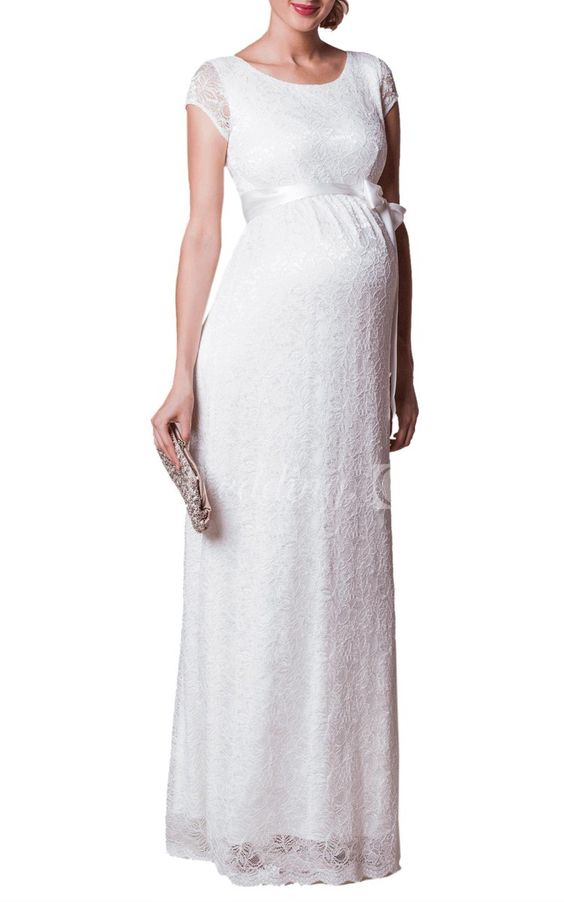 Cap Sleeve Floor Length Lace Dress With Satin Sash and Scoop Neck
