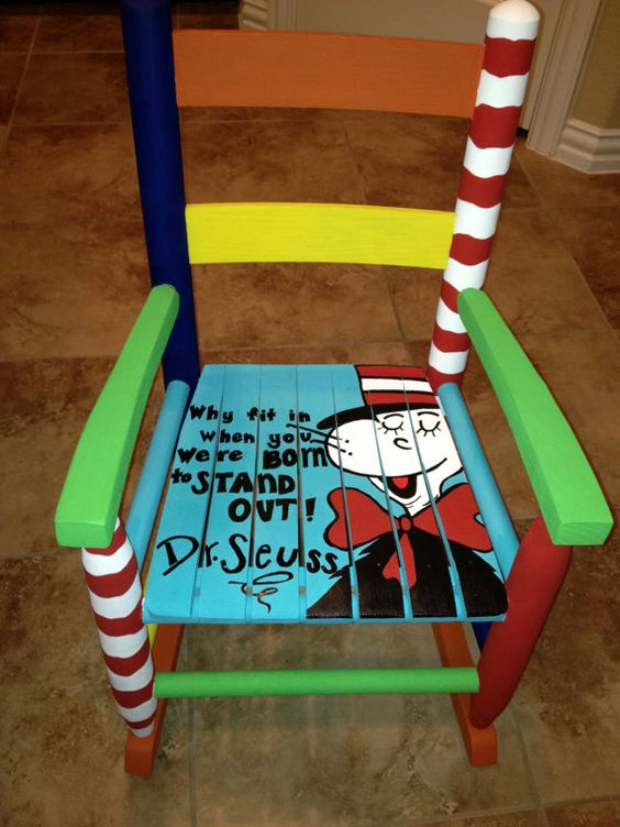 Dr seuss child 39 s rocking chair toys wooden chairs and - Paint for childrens furniture ...